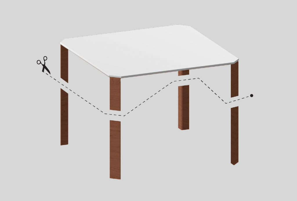 An image of a table with its legs cut off