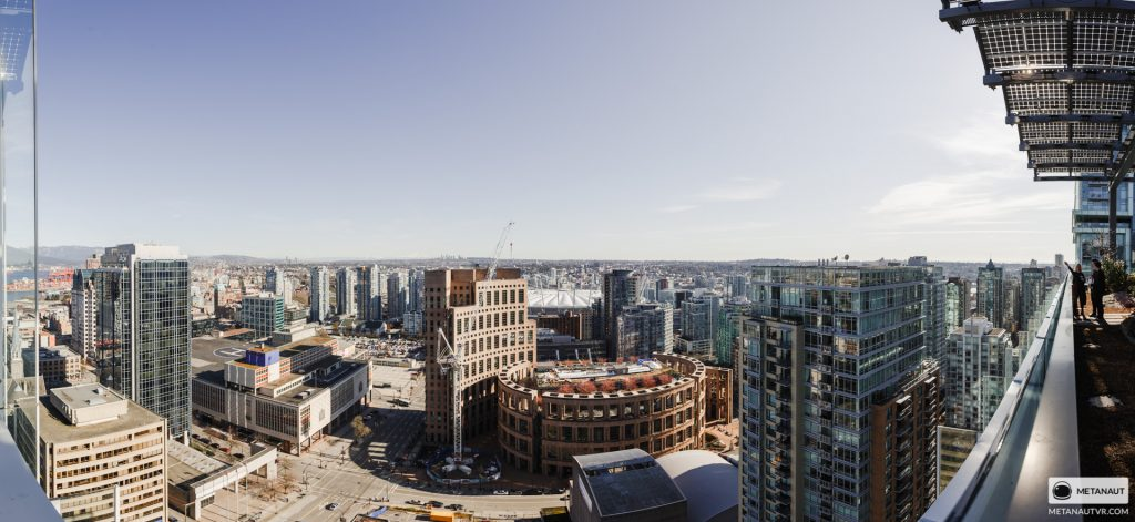 Panoramic view of downtown Vancouver from the Telus Garden building during the orientation event.